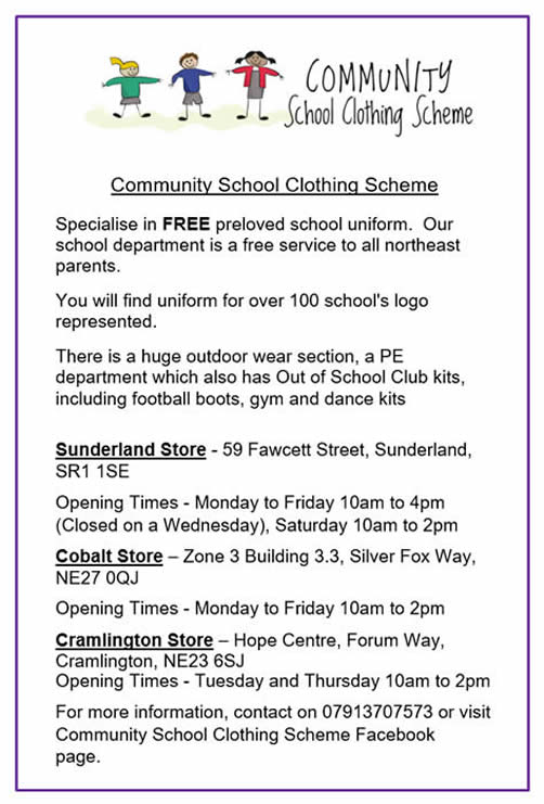 Community School Clothing Scheme. Specialise in FREE preloved school uniform. Our school department is a free service to all northeast parents. For more information, contact on 07913707573 or visit Community School Clothing Scheme Facebook page.