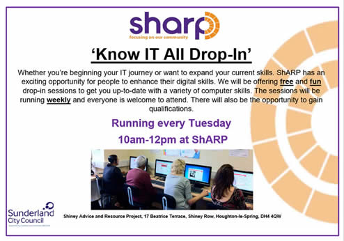 'Know IT All' Drop-In sessions at ShARP! Whether you're new to IT or want to expand your current skills, we have an exciting opportunity for you to enhance your digital skills. We are offering free and fun drop-in sessions to get you up-to-date with a variety of computer skills. The course runs weekly and all are welcome. There will also be the opportunity to gain qualifications. Running every Tuesday 10am-12pm.